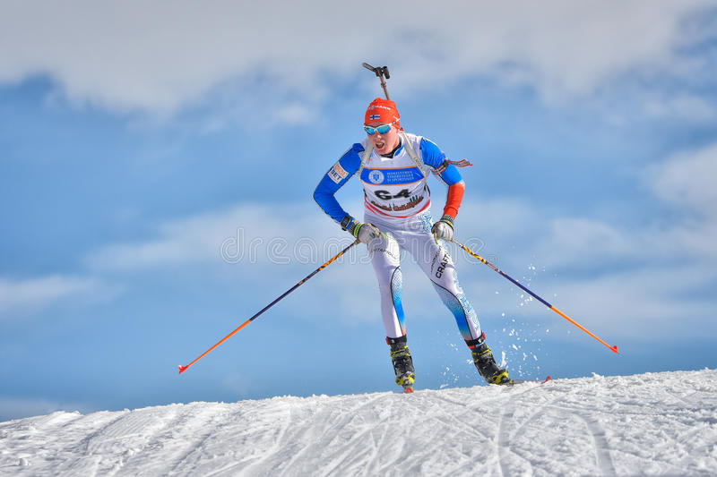 Cheile Gradistei, Roamania - January 28: Unknown competitor in IBU Youth&Junior World Championships Biathlon 24th of January 2016. To 02 February 2016, in royalty free stock images