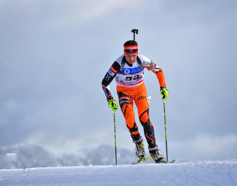 Cheile Gradistei, Roamania - January 27: Unknown competitor in IBU Youth&Junior World Championships Biathlon 24th of January 2016. To 02 February 2016, in royalty free stock photography
