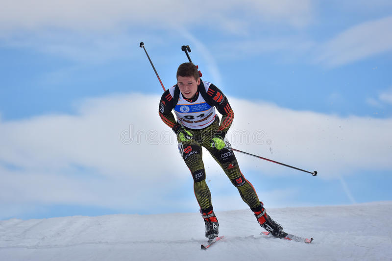 Cheile Gradistei, Roamania - January 28: Unknown competitor in IBU Youth&Junior World Championships Biathlon 24th of January 2016. To 02 February 2016, in stock images
