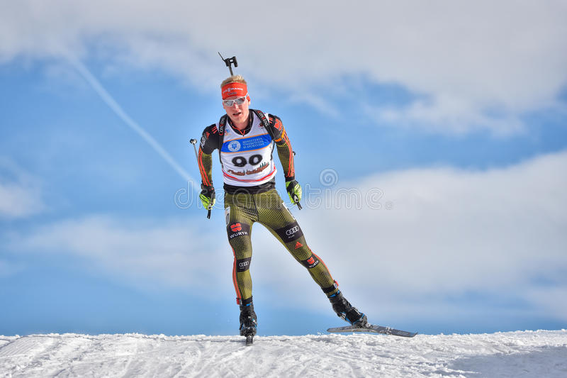 Cheile Gradistei, Roamania - January 30: Unknown competitor in IBU Youth&Junior World Championships Biathlon 24th. Of January 2016 to 02 February 2016, in royalty free stock images