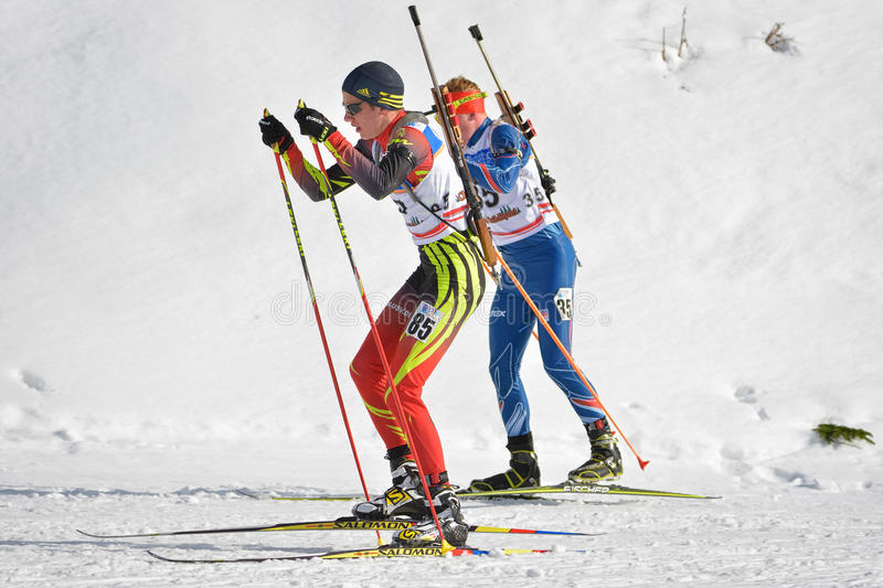 Cheile Gradistei, Roamania - January 30: Unknown competitor in IBU Youth&Junior World Championships Biathlon 24th. Of January 2016 to 02 February 2016, in stock photos