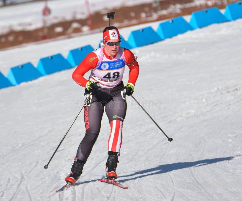 Cheile Gradistei, Roamania - 30 janvier : Concurrent inconnu dans IBU Youth& Junior World Championships Biathlon 24ème de janvier images libres de droits