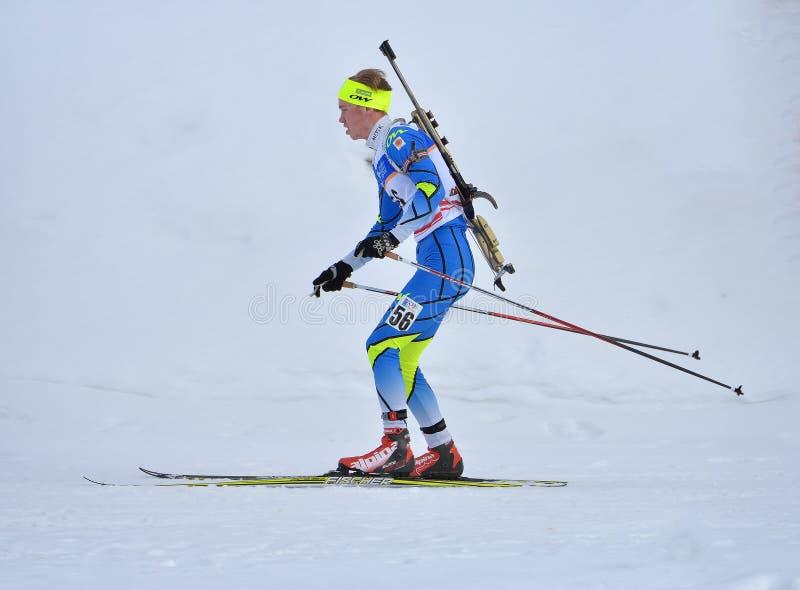 Cheile Gradistei, Roamania - 28 janvier : Concurrent inconnu dans IBU Youth& Junior World Championships Biathlon 24ème de janvier images libres de droits