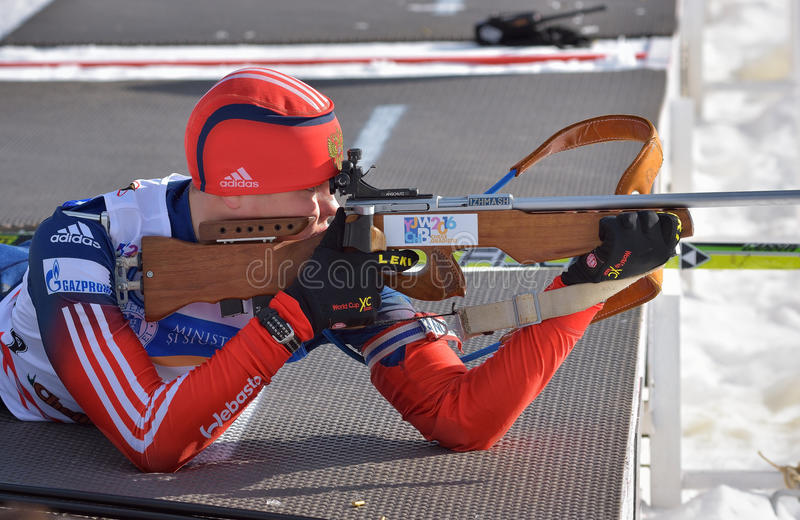 Cheile Gradistei, Roamania - 28 janvier : Concurrent inconnu dans IBU Youth& Junior World Championships Biathlon 24ème de janvier images stock