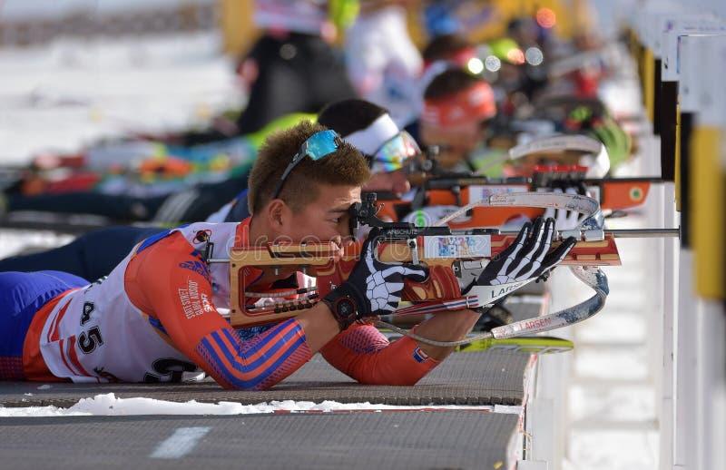 Cheile Gradistei, Roamania - 24 janvier : Concurrent inconnu dans IBU Youth& Junior World Championships Biathlon 24ème de janvier image libre de droits