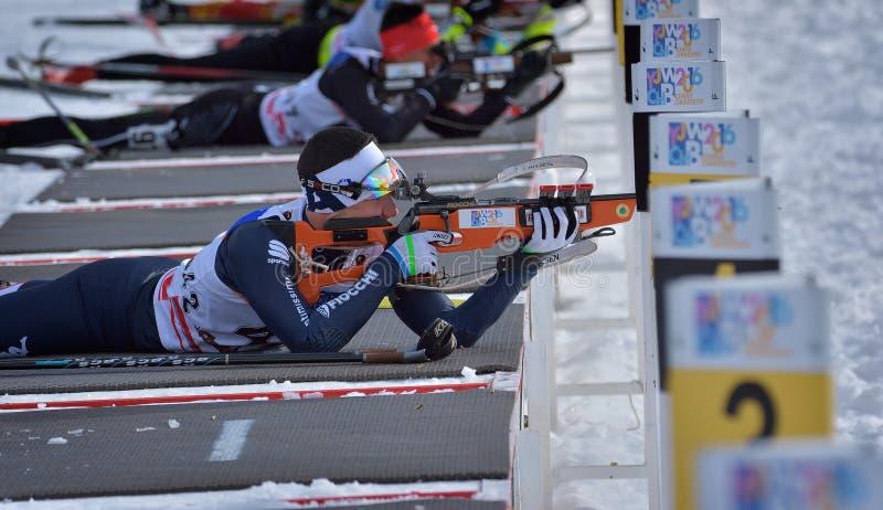 Cheile Gradistei, Roamania - 24 janvier : Concurrent inconnu dans IBU Youth& Junior World Championships Biathlon 24ème de janvier photo libre de droits