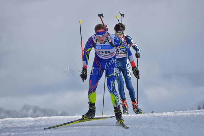 Cheile Gradistei, Roamania - 24 janvier : Copetitor inconnu dans IBU Youth& Junior World Championships Biathlon 24ème de janvier  photographie stock libre de droits