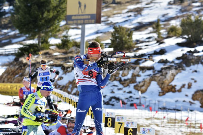 Cheile Gradistei, Romania - January 30: Unknown competitor in IBU Youth&Junior World Championships Biathlon 24th. Of January 2016 to 02 February 2016, in Cheile stock photo