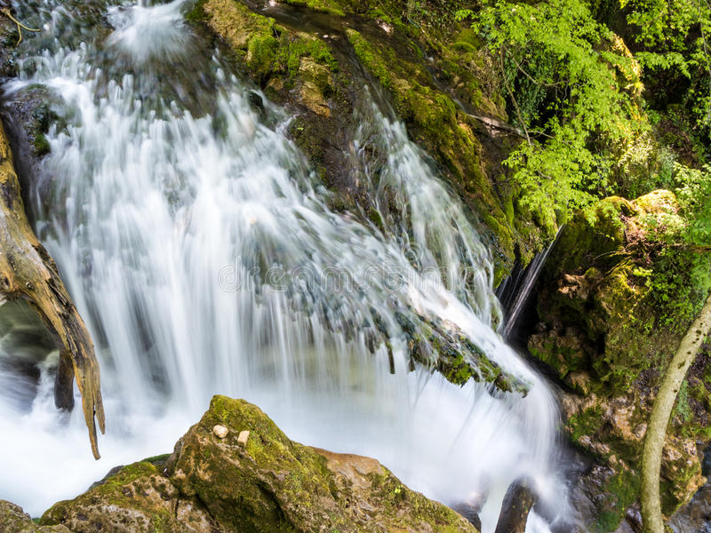 Cheile Nerei Beusnita waterfall in the National Park Nera Gorges royalty free stock photo