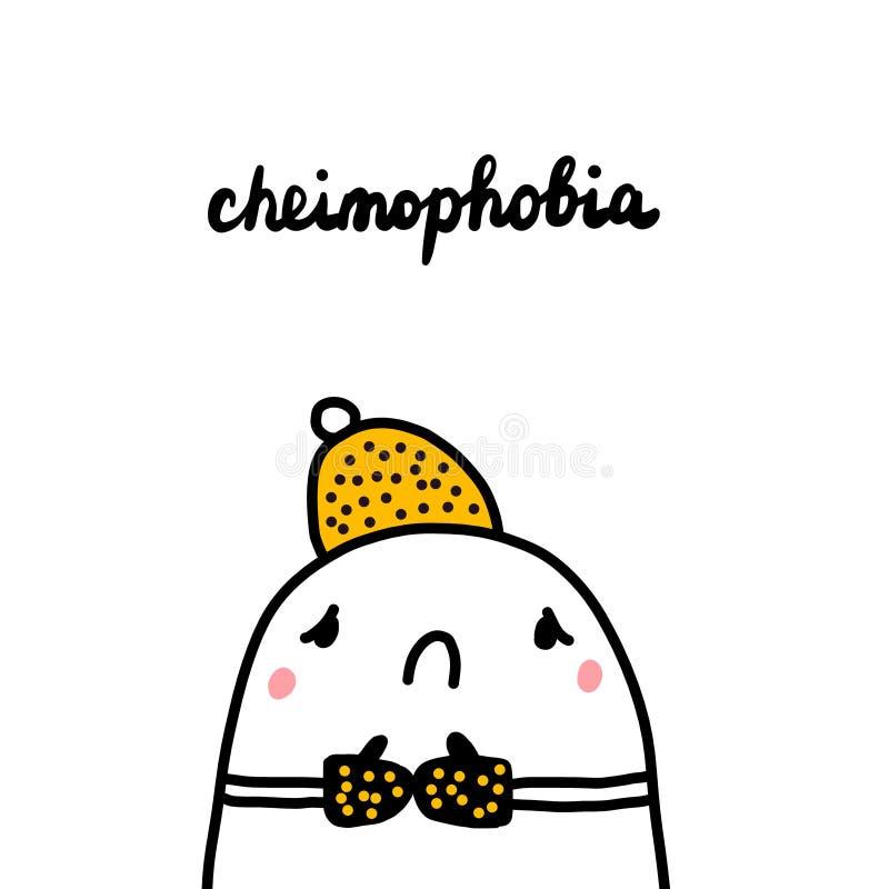 Cheimophobia ręka rysująca ilustracja z ślicznego marshmallow czuciowym zimnem royalty ilustracja