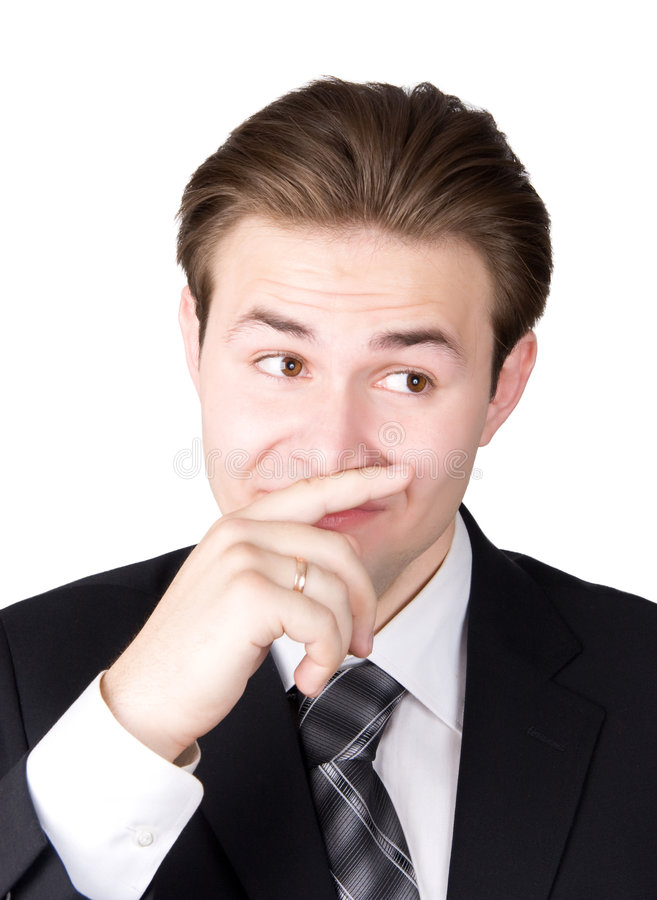 Cheiro novo do sentimento do homem de negócios imagem de stock