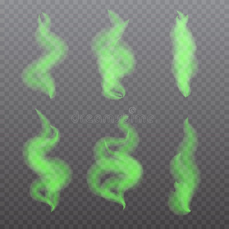 Cheiros maus realísticos ajustados, aroma do fedor Gás tóxico, mortal ilustração do vetor