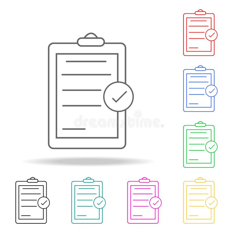 chek list colored icons. Element of sewing multi colored icon for mobile concept and web apps. Thin line icon for website design a stock illustration