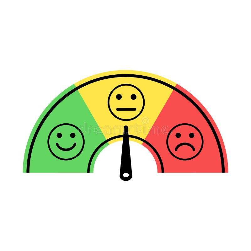 ?chelle avec la fl?che du vert au rouge et aux smiley ?chelle de couleurs des ?motions Signe d'ic?ne d'appareil de mesure Vecteur illustration de vecteur