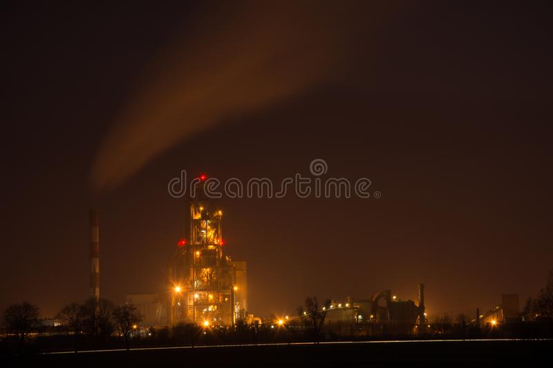 Chelm, Poland - November 02, 2018: Night view of a cement factory stock photo