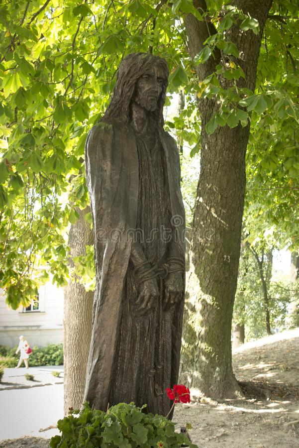 Chelm, Poland, 10 September 2018: Calvary around the Basilica of. The Blessed Virgin Mary in Chelm, sculpture by Jacek Kiciński - station I, Jesus condemned royalty free stock images