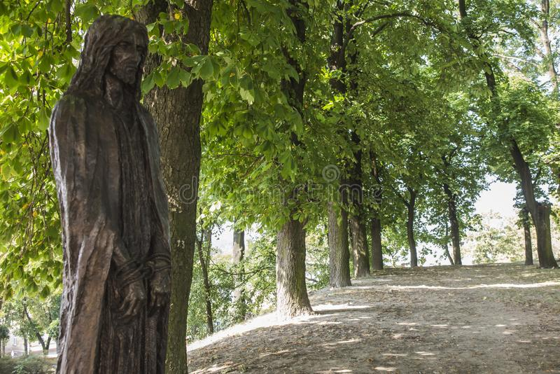 Chelm, Poland, 10 September 2018: Calvary around the Basilica of. The Blessed Virgin Mary in Chelm, sculpture by Jacek Kiciński - station I, Jesus condemned stock image