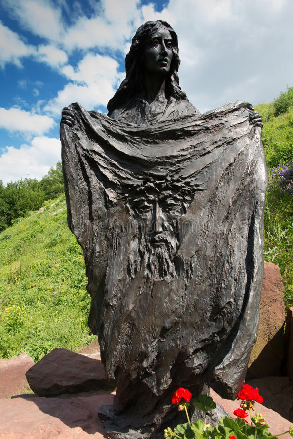 Chelm Polen - Juni 12, 2016: HelgonVeronica med reflectioen arkivbild