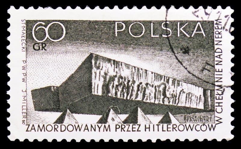 Chelmgedenkteken, Strijd en Martelaarschap van de Poolse Mensen, serie van 1939-45, circa 1965 vector illustratie