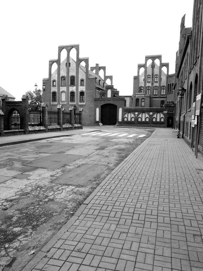 Chelmno sightseeing Artistiek kijk in zwart-wit royalty-vrije stock foto