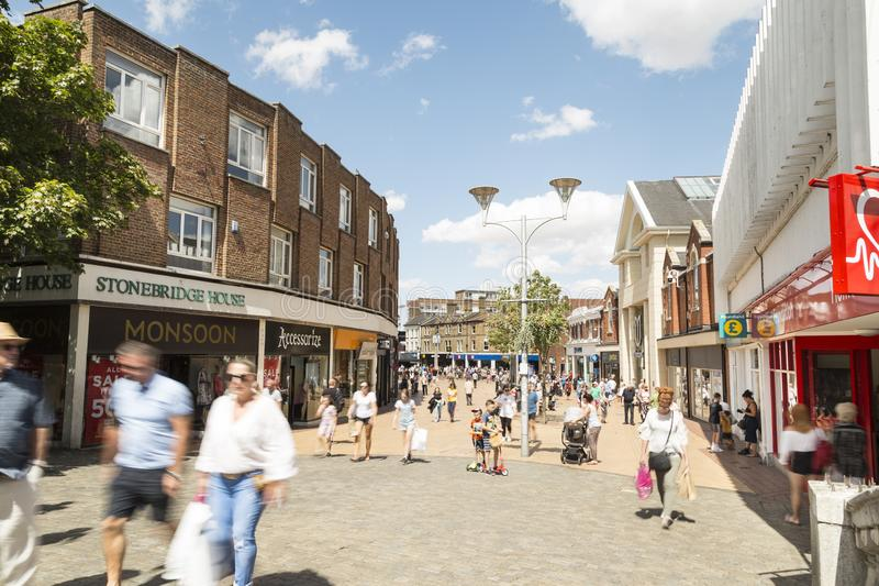 Chelmsford, England,UK. Chelmsford, Essex, UK 28 July, 2018 - British people enjoying walk in sunny nice weekend on the Chelmsford High street - Essex, UK stock image