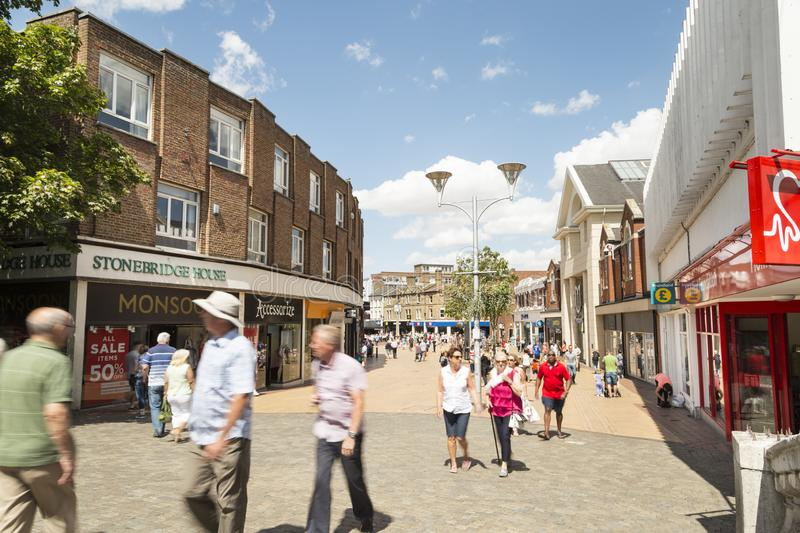 Chelmsford, England,UK. Chelmsford, Essex, UK 28 July, 2018 - British people enjoying walk in sunny nice weekend on the Chelmsford High street - Essex, UK royalty free stock photography