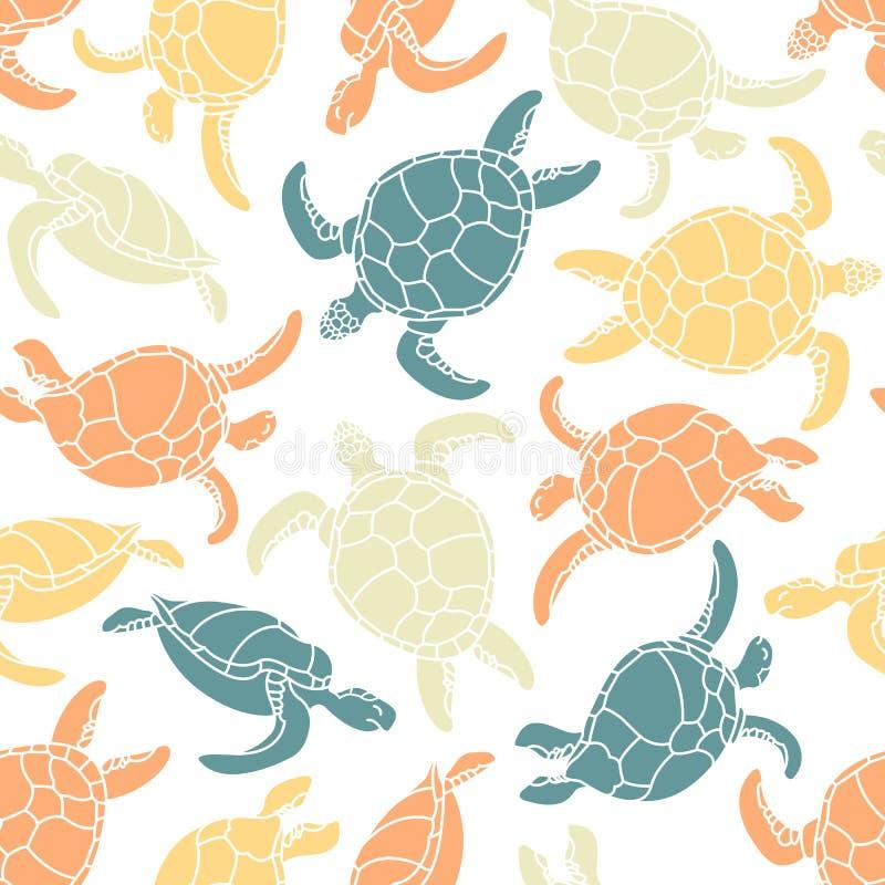 Cheloniidae Reticolo senza giunte con le tartarughe Siluetta Mondo animale sotto acqua Oceano royalty illustrazione gratis