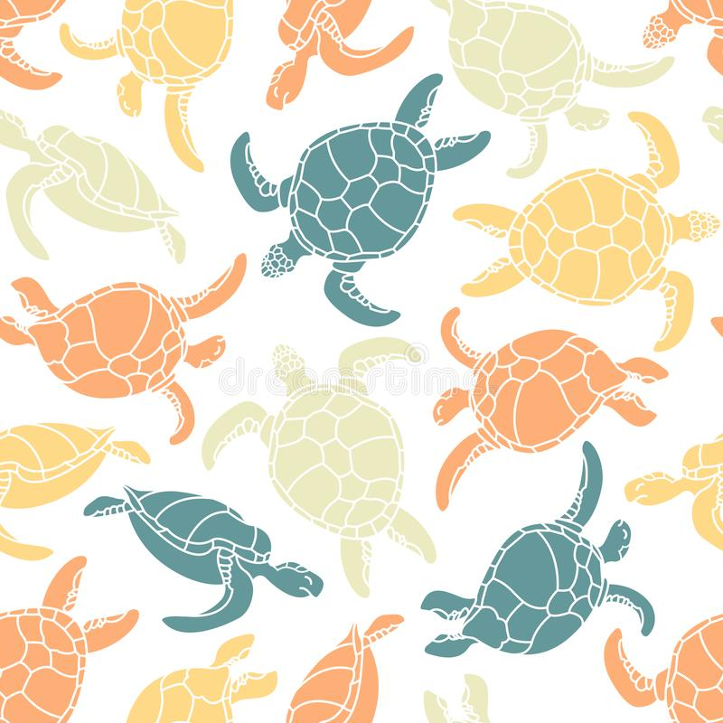 Cheloniidae. Seamless pattern with turtles. Silhouette. Animal world under water. Ocean. royalty free illustration