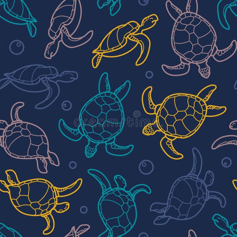 Cheloniidae Teste padrão sem emenda com tartarugas gráficos lineares Mundo animal sob a água Oceano ilustração royalty free
