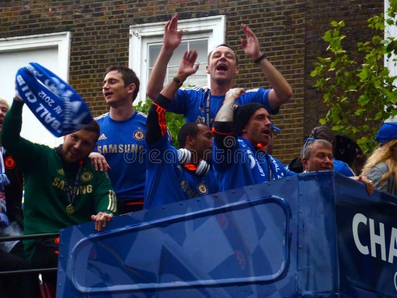 Chelsea comemora - os campeões 2012 do europeu fotos de stock