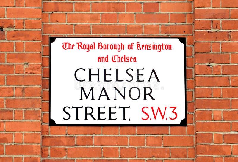 Chelsea Manor Street Sign, Londres fotos de archivo libres de regalías