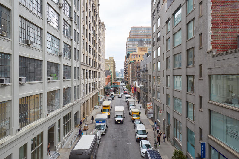 Chelsea street elevated view with art galleries in New York royalty free stock photography