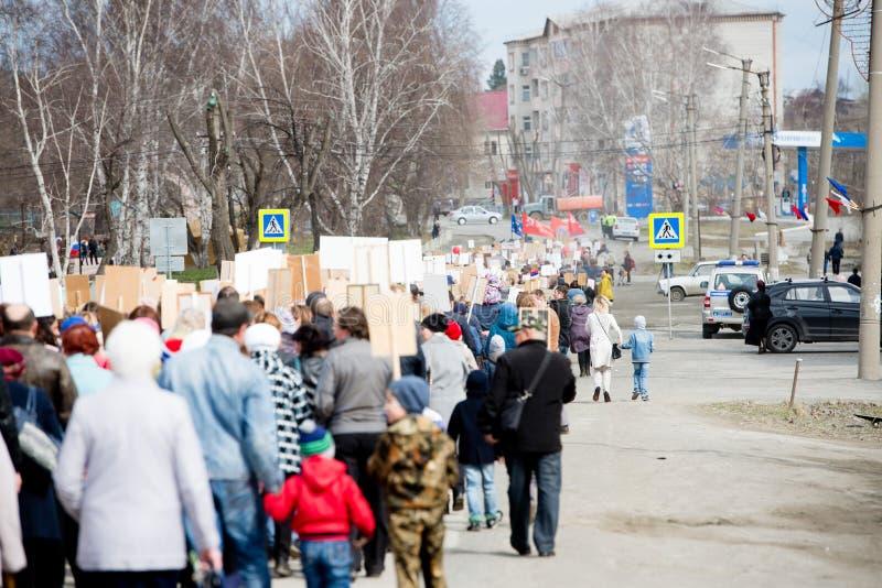 Chelyabinsk region Rosja, Maj, - 9, 2018: Akcja Nieśmiertelny pułk podczas świętowania zwycięstwo dzień w małym fotografia royalty free