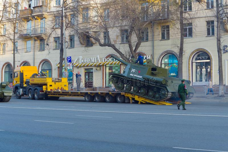 ISU-152 rises along the gangway to the trawl. Parade rehearsal. Chelyabinsk, Russia - May 2019: Transportation of heavy armored vehicles along Lenin Avenue. ISU stock image