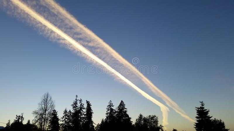 Chem trails royalty free stock images