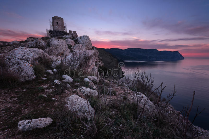 Chembalo old fort. In Balaclava at dawn, Crimea stock photo
