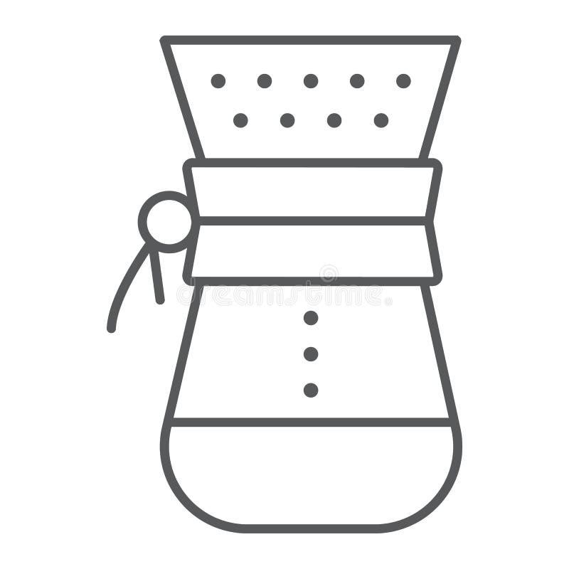 Chemex cienka kreskowa ikona, kawa i kawiarnia, royalty ilustracja