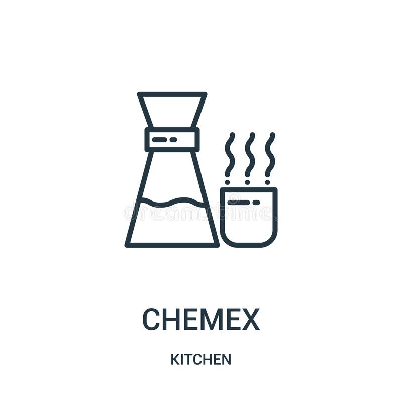 chemex icon vector from kitchen collection. Thin line chemex outline icon vector illustration. Linear symbol for use on web and royalty free illustration