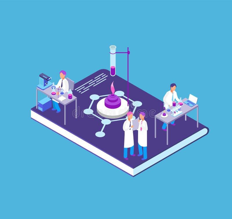 Chemia, środka farmaceutycznego 3d isometric pojęcie z chemicznym laboranckim wyposażeniem i ludzie badacza wektoru, royalty ilustracja