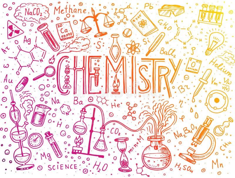 Chemia ikona set Chalkboard z elementami, formułami, atomem, epruwetką i laboranckim wyposażeniem, laboratorium royalty ilustracja