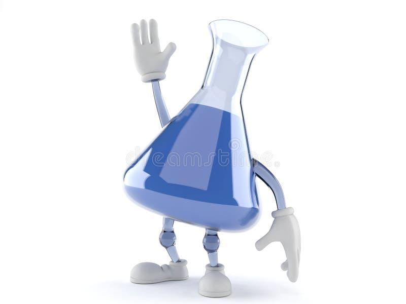 Chemia kolbiasty charakter z ręką up ilustracja wektor