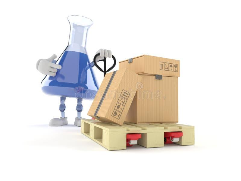 Chemia kolbiasty charakter z ręka barłogu ciężarówką z kartonami ilustracji