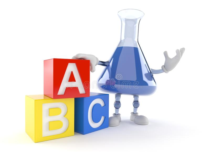 Chemia kolbiasty charakter z zabawkarskimi blokami ilustracji