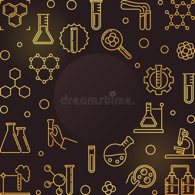 Chemia konturu wektoru złota rama - chemiczny tło ilustracji