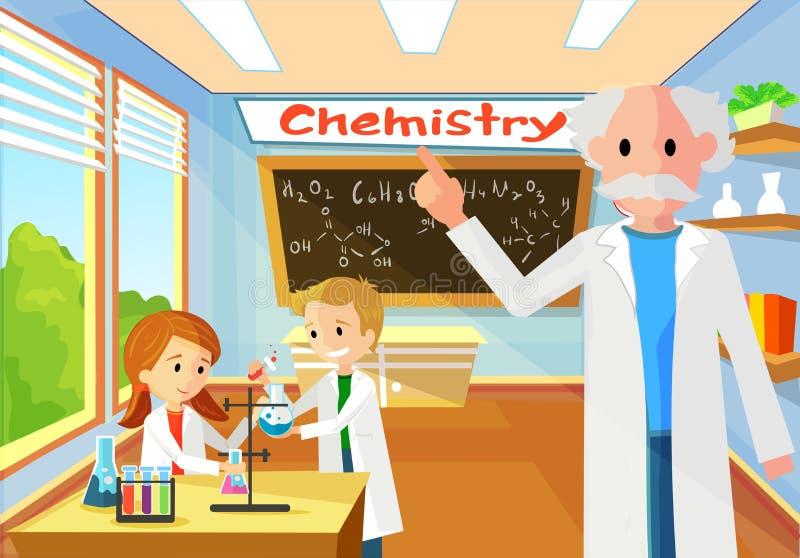 Chemia nauczyciel w lekcji Wykonuje Klasowego zadanie ilustracji