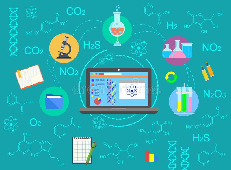 Chemia Pojęcie chemiczny eksperyment Miejsce pracy chemika laboratorium Nauka substancja chemiczna ilustracja wektor