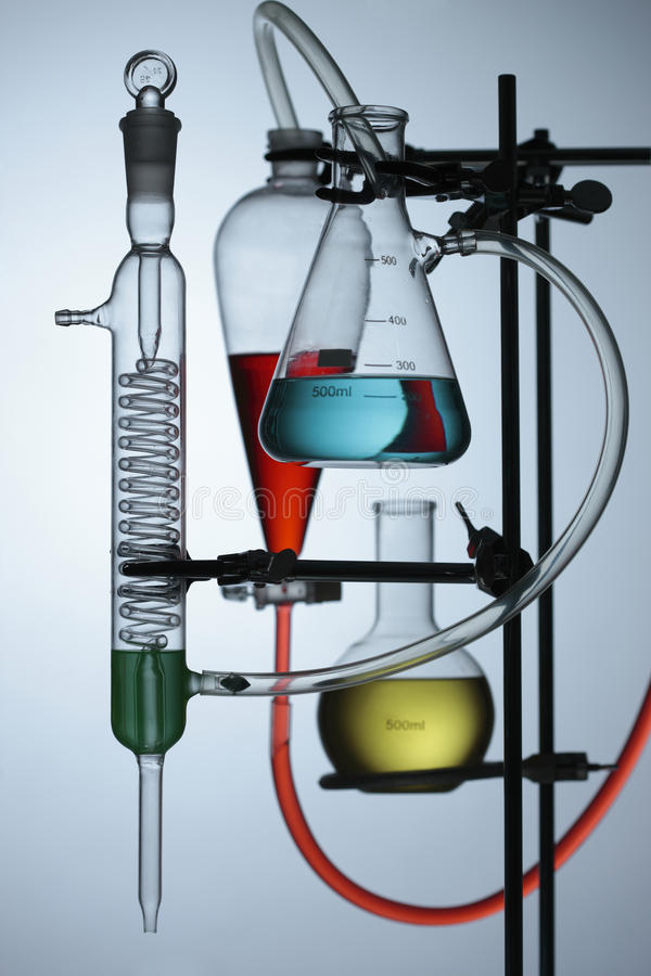 Chemical. Flasks with colored liquid in laboratory stock photography