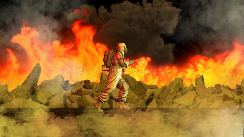 Chemical alarm, man with protective suit runs to the place of the explosion. Nuclear alarm, place of war. Apocalyptic scene. vector illustration