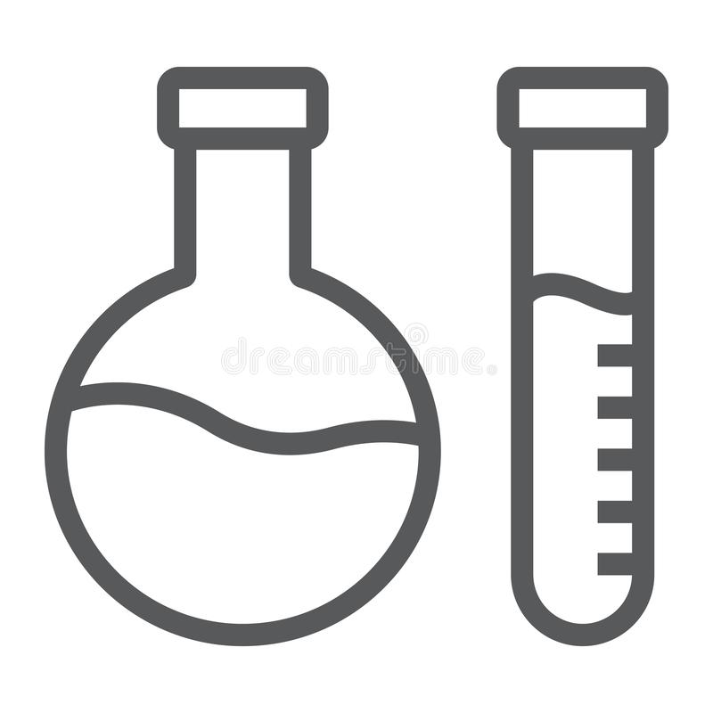 Chemical analysis line icon, laboratory and flask, tube test sign, vector graphics, a linear pattern on a white stock illustration
