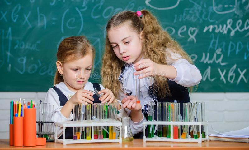 Chemical analysis and observing reaction. School equipment for laboratory. Girls on school chemistry lesson. School. Laboratory partners. Kids busy with royalty free stock photo